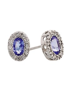 jewellery: 9kt Tanzanite and Diamond Earrings D03492 9 0!