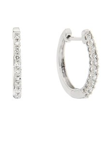 jewellery: 9ct White Gold Diamond Huggie Earrings!