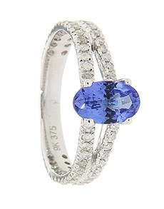 jewellery: 9kt Tanzanite and Diamond Ring 0.76ct!