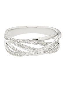 jewellery: 9kt White Gold Cross Over Diamond Ring!