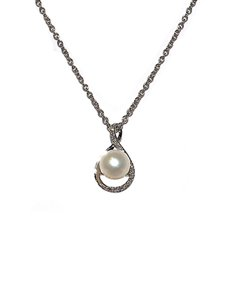 jewellery: 9KT WG Diamond and Pearl Necklace D04762 9 0!