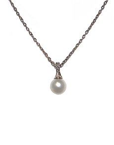 jewellery: 9KT WG Diamond and Pearl Necklace D04804 9 0!