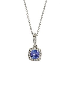 jewellery: 9KT White Gold Tanzanite Round Square Look Pendant!