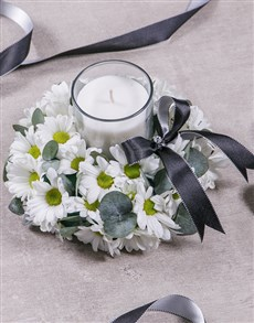 flowers: Discovery White Sympathy Wreath With Candle!