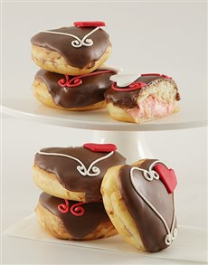 bakery: Strawberries and Cream Filled Chocolate Doughnuts!