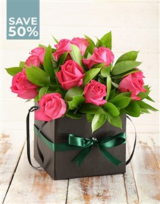 flowers: Blissful Box Of Cerise Roses!