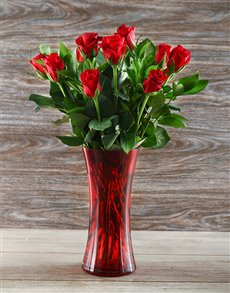 flowers: Red Roses in a Red Flare Vase !