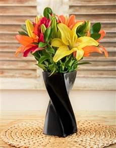 flowers: Mixed Lilies in a Black Twisty Vase!