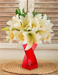 flowers: St Joseph Lilies in a Red Twisty Vase !