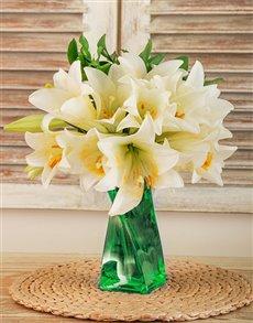 flowers: St Joseph Lilies in a Green Twisty Vase!