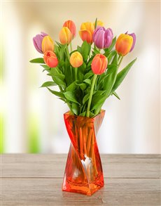 flowers: Tulips with Free Coloured Vase and Free Chocs !