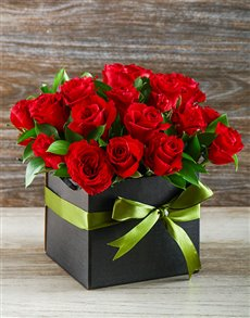 flowers: Roses in Black Gift Box!