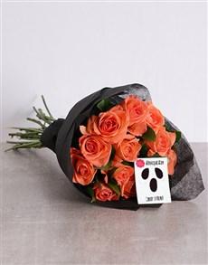 flowers: Orange Rose Halloween Bouquet!