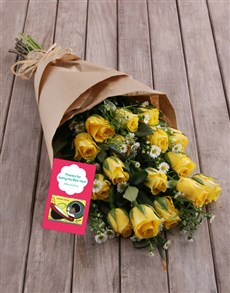 flowers: Yellow Rose Bouquet With Tea!