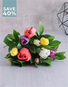 flowers: Mixed Tulips In Brown Paper!