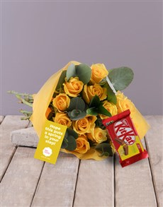 flowers: Yellow Rose Blossoms with KitKat!