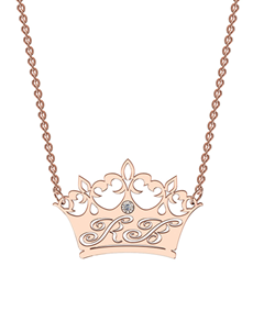 jewellery: MeMi Rose Gold Diamond Crown Personalised Necklace!