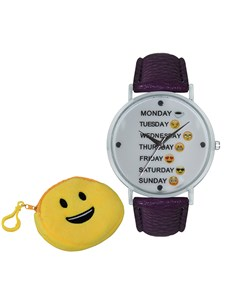 watches: Emoji Cyber Smiley Weekday Purple Watch!