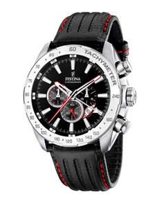 jewellery: Festina Watch with Black Leather Strap!
