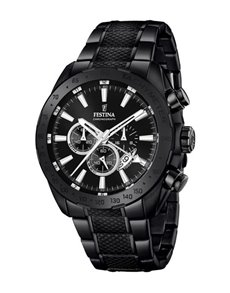 jewellery: Festina Watch with Black Ion Plated Case and Strap!