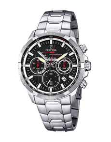 jewellery: Festina Watch with Black Ion Plated Bezel!