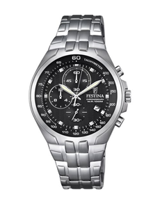 watches: Festina Stainless Steel Watch with Black Dial!