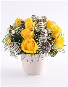 bakery: Yellow Happiness Strawberry and Rose Bouquet!