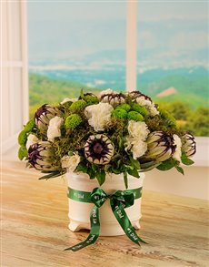 Flowers: Mixed Protea Arrangement in a White Ceramic Vase.!