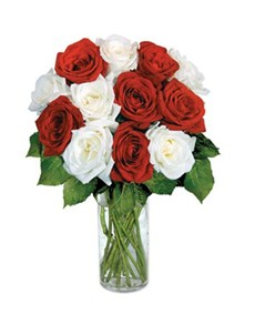 flowers: 12 Red & White Roses!