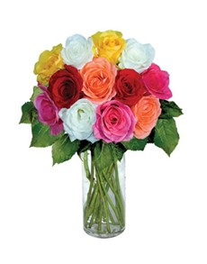 flowers: 12 Mixed Roses!