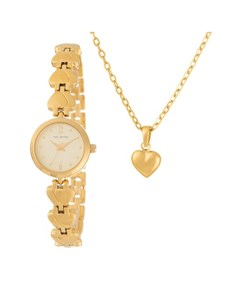 watches: Hallmark Gold Plated Watch and Puff Heart Pendant!