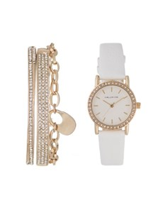 watches: Hallmark Ladies White and Gold Watch Box Set!
