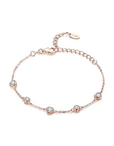 jewellery: Silver Rose Bracelet With 5 Cubic Heart Charms!