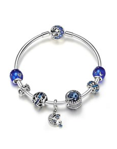 Silver Blue Moon And Stars Charm Bracelet Set