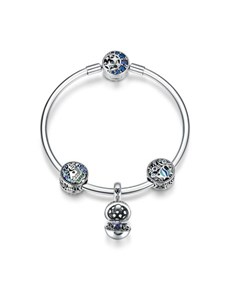 jewellery: Silver Blue Stone Surprize Charm Bracelet!