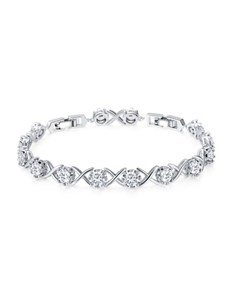 jewellery: Clear Cubic X Adjustable Tennis Bracelet!