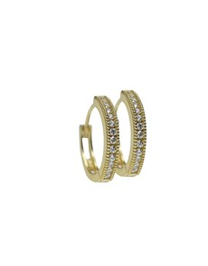 gifts: 9KT Gold Round Pave Cubic Hoop Earrings!