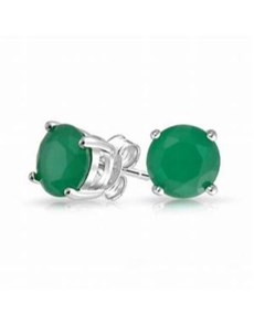 jewellery: Silver 925 4 Claw Round Emerald Studs!