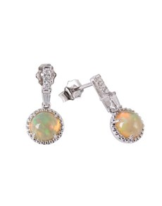jewellery: 9KT White 1.38ct Round Opal and Diamond Earrings!