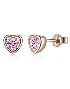 jewellery: Silver Rose Pink Heart Cubic Studs!