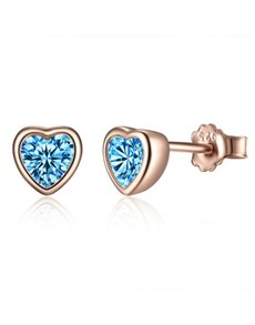 jewellery: Silver Rose Blue Heart Cubic Studs!