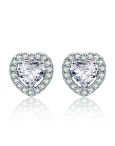 jewellery: Silver Heart Cubic Halo Design Studs!