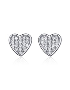 jewellery: Silver Pave Heart Cubic Design Studs !
