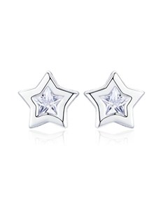 jewellery: Silver Star Design Cubic Earrings!
