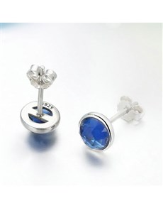 jewellery: Silver Blue September Cubic Birthstone Studs!