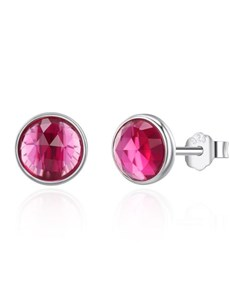 jewellery: Silver Red Ruby Cubic Birthstone Studs!