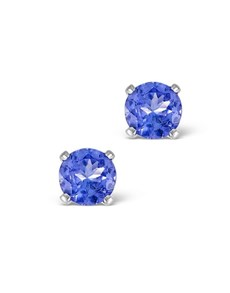 jewellery: 9KT White Gold Claw Set Round Tanzanite Studs!