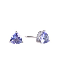 jewellery: Silver Trillion 1.06ct Tanzanite Claw Studs!