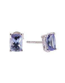 jewellery: Silver Cushion 2.02ct Tanzanite Claw Stud Earrings!