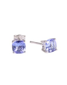 jewellery: Silver Cushion 1.71ct Tanzanite Claw Stud Earrings!